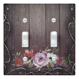 Rustic Glamour Barn Wood Flourish & Floral Elegant Light Switch Cover