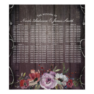 Rustic Glamour Barn Wood Flourish & Floral Seating Poster