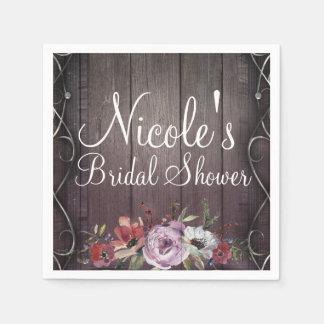 Rustic Glamour Barn Wood Flourish & Floral Wedding Disposable Napkin