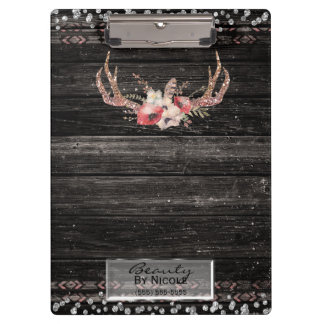 Rustic Glamour Boho Antlers Skull Personalized Clipboard