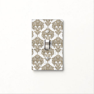 Rustic Glamour Burlap Royal Damask Chic Modern Light Switch Cover