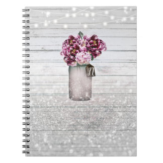 Rustic Glamour Wood & Burgundy Mason Jar Flowers Notebooks