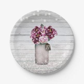 Rustic Glamour Wood & Burgundy Mason Jar Flowers Paper Plate