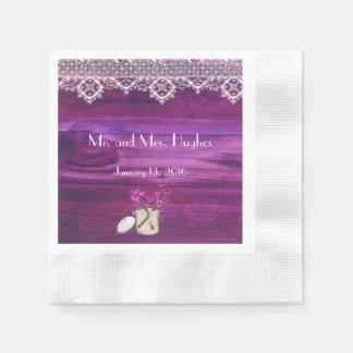 Rustic glass jar heart lace wedding disposable napkin
