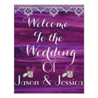 Rustic glass jar heart lace wedding poster