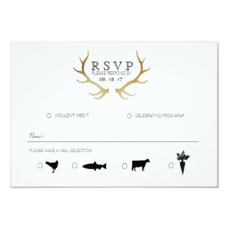 "Rustic Gold Antler | Elegant RSVP 3.5"" X 5"" Invitation Card"