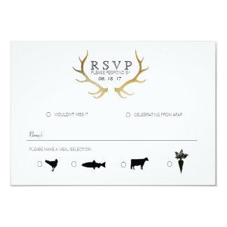 Rustic Gold Antler | Elegant RSVP Card