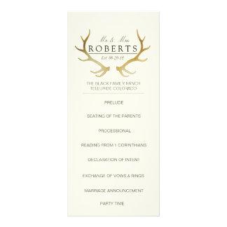 Rustic Gold Antlers   Elegant Wedding Rackcard Rack Card