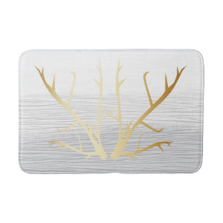 Rustic Gold Antlers on White & Gray Faded Texture Bathroom Mat