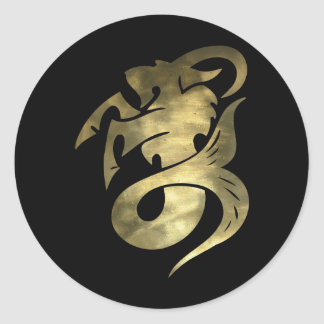 Rustic Gold Capricorn Goat Round Sticker