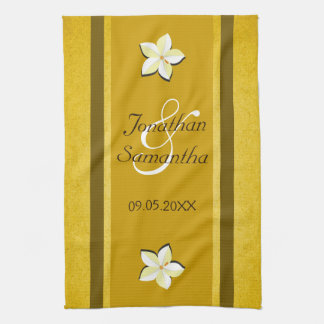 Rustic Gold Floral MoJo Wedding Kitchen Tea Towel
