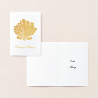 Rustic Gold Foil Scallop Shell Card