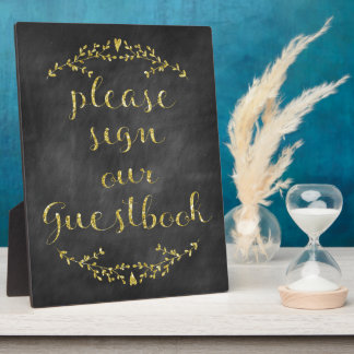 Rustic & Gold Glitter Guestbook Sign Plaque
