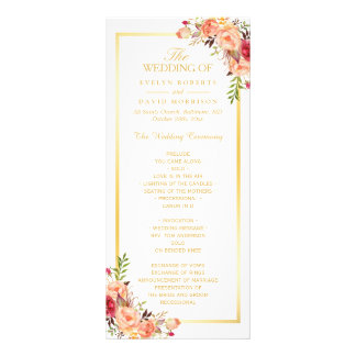 Rustic Gold Orange Floral Fall Wedding Program