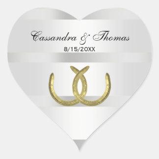Rustic Golden Horseshoes Silver Wht envelope seals Heart Sticker