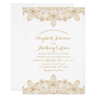 Rustic Golden Lace Luxury Elegant Wedding Card