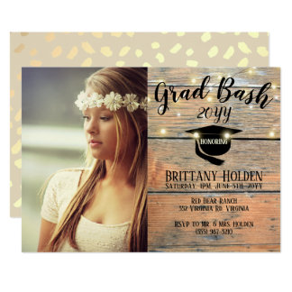 Rustic Grad Bash Party Photo Card