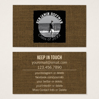 Rustic Graduation Networking | Custom Photo Burlap Business Card