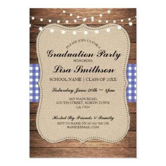 Rustic Graduation Party Blue Check Wood Invite