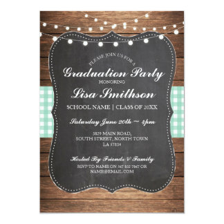 Rustic Graduation Party Mint Check Wood Invite