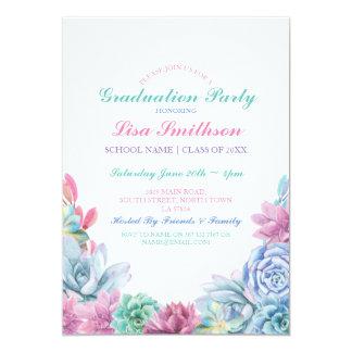 Rustic Graduation Party Pastels Succulents Invite
