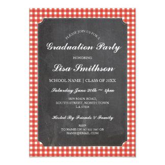 Rustic Graduation Party Red Check Chalk Invite