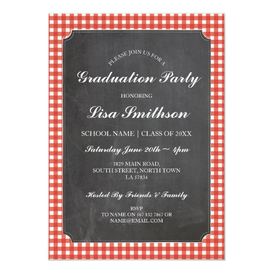 Rustic Graduation Party Red Check Chalk Invite