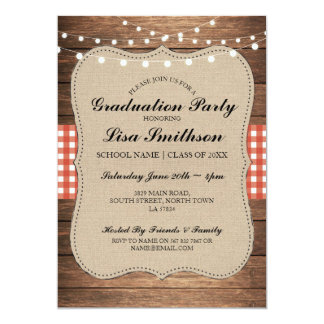 Rustic Graduation Party Red Check Wood Invite