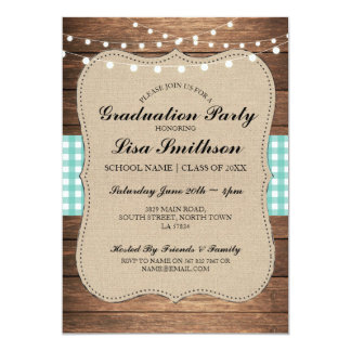 Rustic Graduation Party Teal Check Wood Invite
