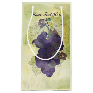 Rustic Grapes Personalized Small Gift Bag