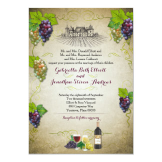 Rustic Grapevine Vineyard Wedding Event Card