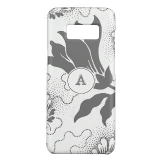 Rustic Gray And White Floral Print With Monogram Case-Mate Samsung Galaxy S8 Case