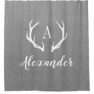 Rustic Gray Antler Monogram Shower Curtain