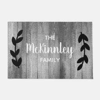 Rustic Gray Barn Wood Black Laurels & Family Name Doormat