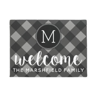Rustic Gray & Black Buffalo Plaid Family Welcome Doormat