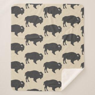 Rustic Gray Buffalo Bison Sherpa Blanket
