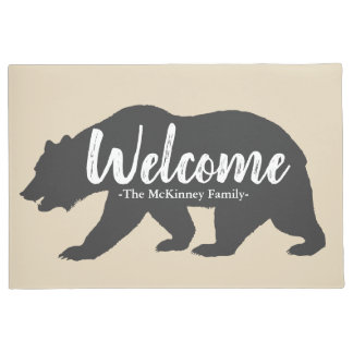 Rustic Gray Grizzly Bear & Family Name Welcome Doormat