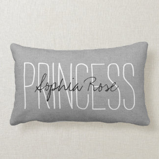 Rustic Gray Princess Monogram Lumbar Pillow