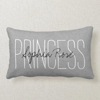 Rustic Gray Princess Monogram Lumbar Pillow