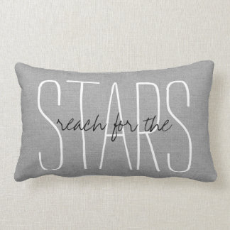 Rustic Gray Reach for the Stars Lumbar Pillow