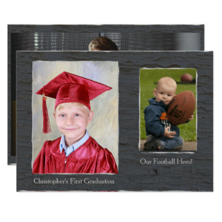 Rustic Gray Texture Photo Frame Card