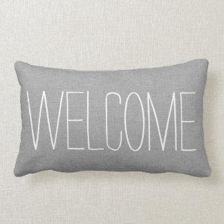 Rustic Gray Welcome Lumbar Pillow