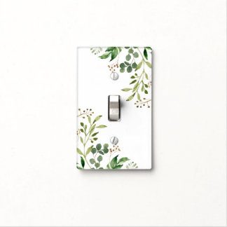 Rustic Green and Golden Brown Leaves Single | Light Switch Cover