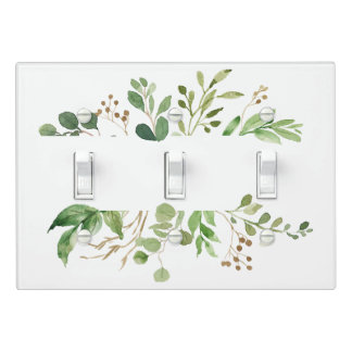 Rustic Green and Golden Brown Leaves Triple Light Switch Cover
