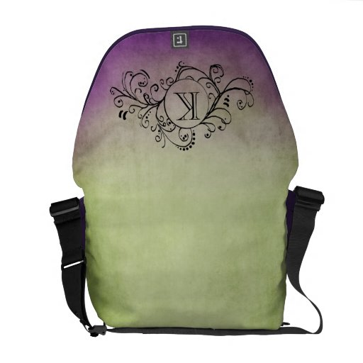 Rustic Green and Purple Bohemian  Flourish Commuter Bags