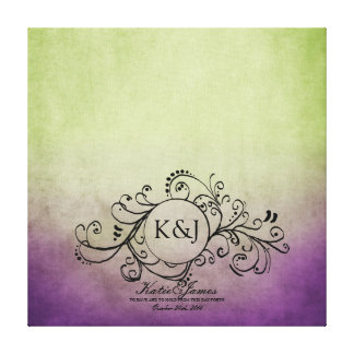 Rustic Green and Purple Bohemian Guest Book Canvas Stretched Canvas Print