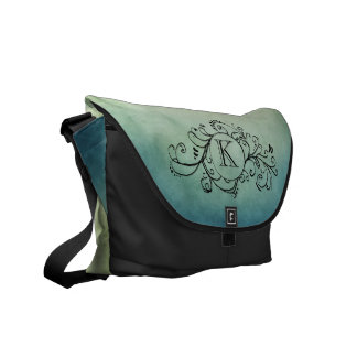 Rustic Green and Teal Bohemian  Flourish Courier Bag