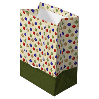Rustic Green, Blue, Brown and Red Ornament Medium Gift Bag