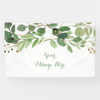 Rustic Green Floral Baby Shower Banner