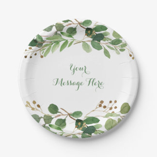 Rustic Green Floral Baby Shower Paper Plate